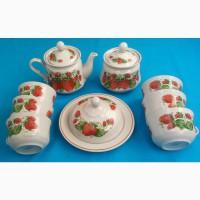 Фаянсовый чайный набор «Клубничка» на 6 персон