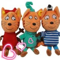 Мягкая игрушка из мультфильма Три кота Коржик, Компот, Карамелька 25см