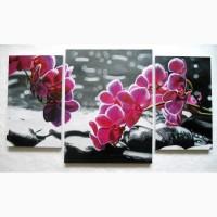 Триптих Орхидеи, холст, масло, (30х49см, 46х60см, 30х49см)