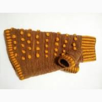 Коричневый с жёлтыми шишечками плюшевый свитер для животных