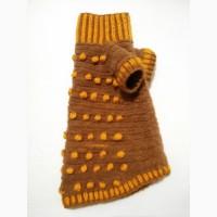 Коричневый с жёлтыми шишечками плюшевый свитер для собачек и кошек
