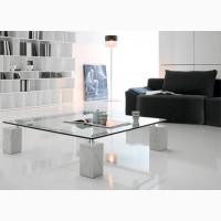 Итальянская мебель из стекла и стеклянные изделия: столы, стулья, тумбочки, полки