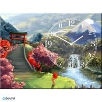 Картина с часами на натуральном холсте