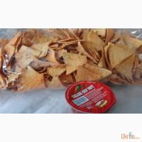 Кукурузные чипсы Nachos, Соусы для чипсов сырный, Томатный