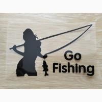 Наклейка на авто Девушка на рыбалке Черная Тюнинг авто